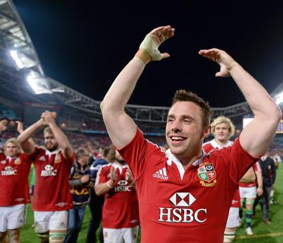 IRISH PRIDE: Tommy Bowe celebrates the Lions' victory in the third Test in Sydney.