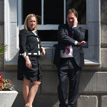 Fine Gael TD Lucinda Creighton and her husband Senator Paul Bradford at Leinster House