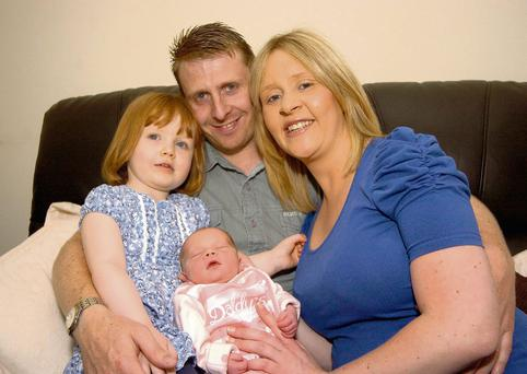 Denise O'Reilly with her daughter Mia (3), partner Ray Fowler and new arrival Eve