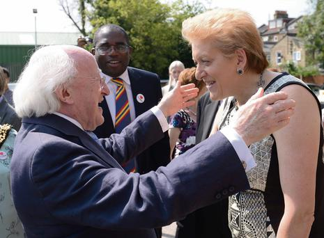 President Michael D Higgins meets Sharon Grant, widow of the former Tottenham MP Bernie Grant, during his visit to Haringey, north London