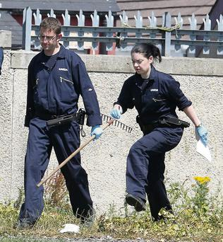 Gardai search wasteland behind Cara Park, Coolock, where the getaway car was abandoned yesterday