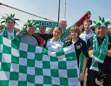 London GAA fans looking forward to the big match, (left to right) Lloyd Colfer, Errol Reeves, Ben Englington, Samantha Parkin, Kevin Kelly, Anne Hitchens, Mark Gottsche and Steve Hignett. Will Oliver