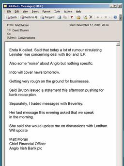 An email from AIB's Matt Moran to Anglo Irish Bank's David Drumm.