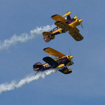 The Trig Aerobatic Team in their Pitts Special S-ID biplanes at the Air Spectacular in Bray