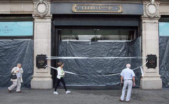 Clerys department store which will be closed due to water damage during a thunder storm on O' Connell Street , Dublin