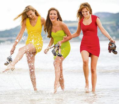 MODEL MATERIAL: Naomi Pelkiewicz, Holly Carpenter and Sophie Ellson, who are contestants on 'Britain and Ireland's Next Top Model', on Dollymount Strand.
