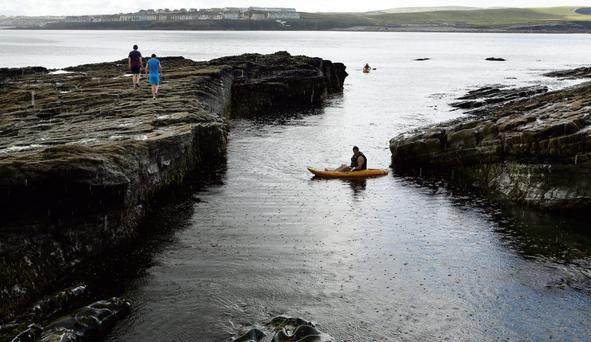 RESTRICTED ACCESS: Clare County Council has removed the ladders accessing Byrnes Cove in Kilkee, Co Clare