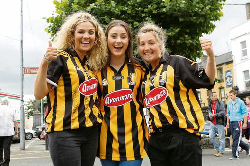 Kilkenny Fans Orla Keogh, Claire McGrath and Rachel Hogan pictured in Thurles, Co Tipperary