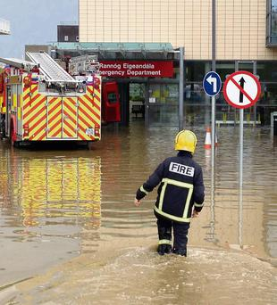 The flooded entrance to Letterkenny's A&E department
