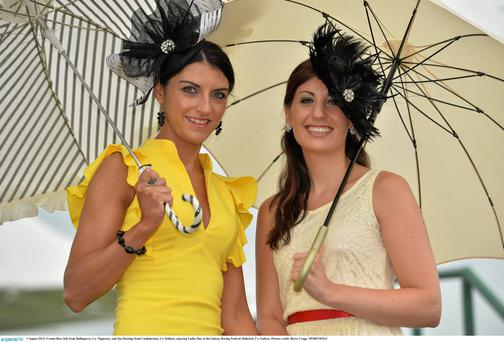 Yvonne Rice, left, from Ballingarry, Co. Tipperary, and Sue Deering, from Castledermot, Co. Kildare at the Ballybrit venue