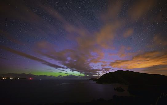 The Northern Lights at Dunree Head seen in north Donegal. Photo: Rory Adam