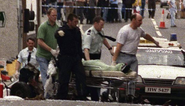The aftermath of the bomb in Omagh, which killed 29 people and unborn twins