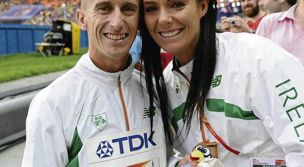 Rob Heffernan and his wife Marian after the medal ceremony for men's 50k walk in Moscow