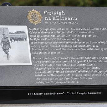 The General Michael Collins monument unveiled on the anniversary of his death at Cathal Brugha Barracks