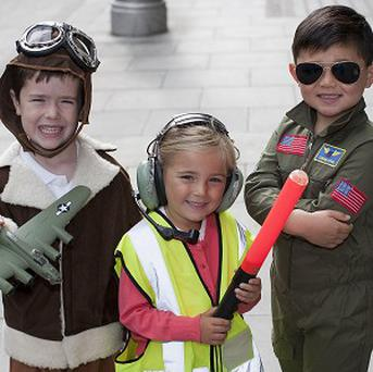 Robert Kennedy, six, Arona Romeri, four, and Leon Tully, five during a photocall in Dublin to launch FlightFest