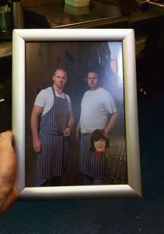SHOCKING: Chefs Oliver Dunne, left, and Rory Carville in mock decapitation picture