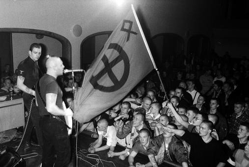 White power: Skinheads at a concert given by Skrewdriver in Stockholm, Sweden
