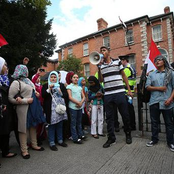 Friends of the Halawa family gather at the Egyptian Embassy in Dublin calling for their release from custody.