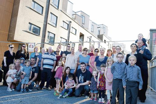 Former Priory Hall residents at the abandoned complex in Donaghmede