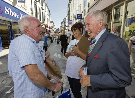Senator Feargal Quinn hits the canvass trail with the Democracy Matters group in Wexford town