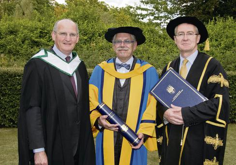 Artist Robert Ballagh, who was given a Doctor of Literature, Honorary Degree by UCD yesterday