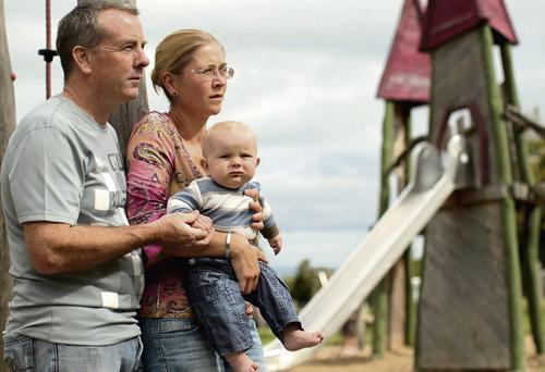 Brian and Maria O'Shea, with their son Torben, their only child who survived the accident.