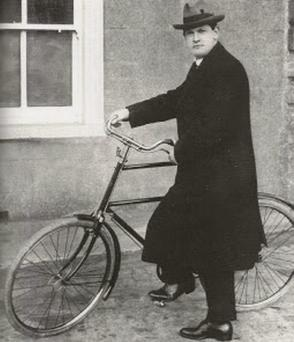 Michael Collins with his 'high nelly' bicycle, which is to go on display as part of a touring show.