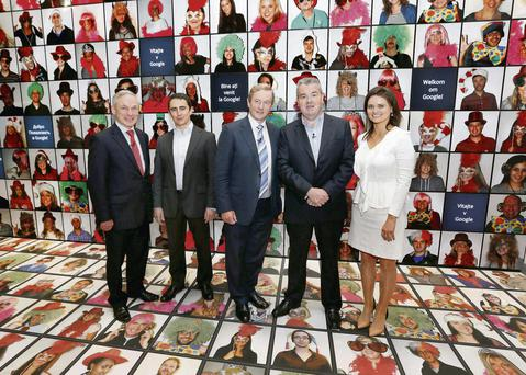 At the opening of the Foundry, Google's €5.5m digital innovation centre in Dublin, yesterday were Jobs Minister Richard Bruton, Google's Ronan Harris, Taoiseach Enda Kenny, Google Ireland boss John Herlihy and Sarah-Jane Campbell, Foundry curator