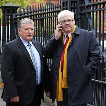 Michael Gallagher, right, whose son Aiden was killed in the Omagh bomb attack with Stanley McCombe who lost his wife Ann