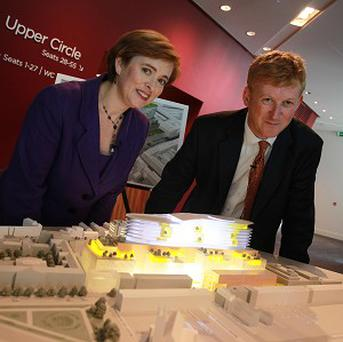 Eilish Hardiman, left, and chief architect Sean Mahon with a model of the National Children's Hospital