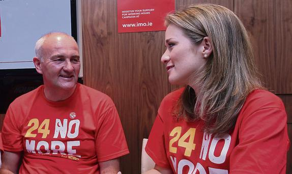 SAFETY FIRST: Eric Young and Jodie Doyle of the IMO help launch the 24 No More campaign. Photo: Damien Eagers