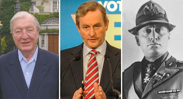 Charlie Haughey (L), Enda Kenny (middle) and Mussolini (R)