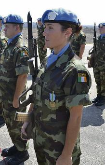 Pte Laura Harris receives her United Nations Interim Force in Lebanon (UNIFIL) medal