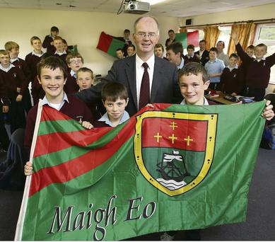 Principal Jimmy Finn with Luke Coen, Dean Guilfoyle and Paul Killeen at St Coleman's College in Claremorris