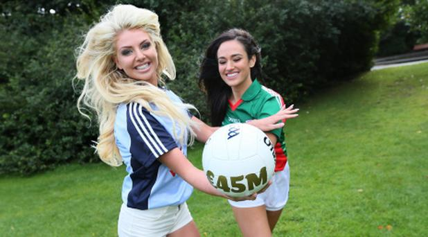 Former Miss Mayo Maire Hughes (right) and proud Dubliner Rachel Wallace are going head to head and hoping for a big win for their counties, and also to promote the EuroMillions €45 million jackpot tonight