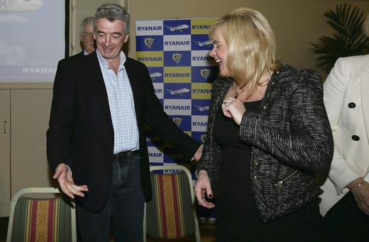 Ryanair chief executive Michael O'Leary at the Ryanair AGM with director Louise Phelan