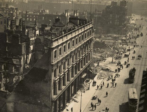 The destruction seen in the O'Connell Street area at the time of the 1916 Rising