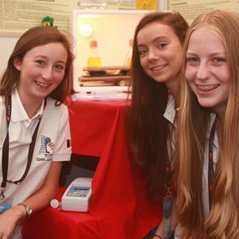Ciara Judge, Sophie Healy-Thow and Emer Hickey, who have scooped a top prize at the European Union's Young Scientist competition (PA/BT)