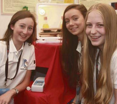 Kinsale Community School students Ciara Judge, Sophie Healy-Thow and Emer Hickey who scooped the top prize at the EU Young Scientist Competition