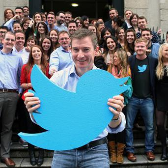 Stephen McIntyre, managing director of Twitter in Ireland. announces 100 new jobs at the company's European headquarters in Dublin