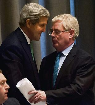 Eamon Gilmore meets US Secretary of State John Kerry at the UN assembly in New York City
