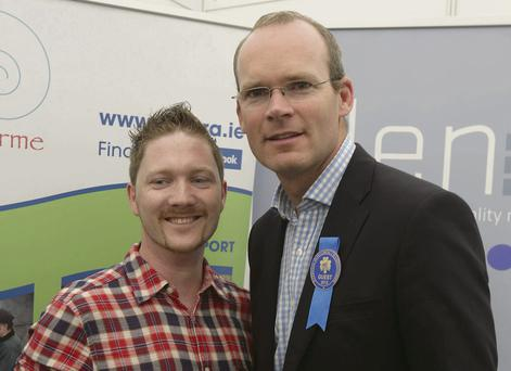 Agriculture Minister Simon Coveney with John Hicke at the launch of an initiative by Macra na Feirme and GLEN