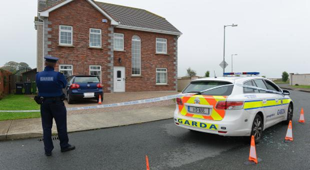 The scene at the house in Termonfeckin, Co Louth where last night shots were fired and a man was injured