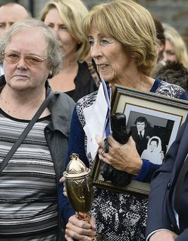 Patsy Byrne's sister Mary, left, and wife Bridget at the funeral