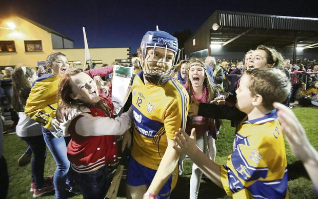Shane O'Donnell is mobbed by fans at a charity match at Sixmilebridge in Co Clare