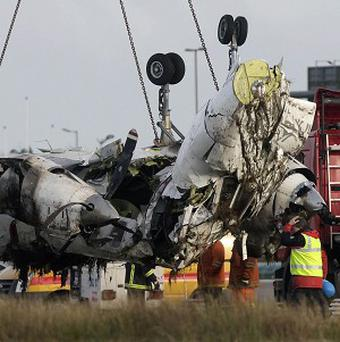 The wreckage of the Manx2 plane in which six people where killed in a crash