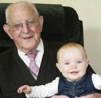 Ciara Coleman from Dublin with her great-grandfather, Michael Dowling, in Killarney, Co Kerry