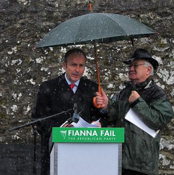 Party leader Micheal Martin gives the keynote address at the annual Fianna Fail, Wolfe Tone Commemoration, in Bodenstown, Co Kildare.