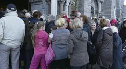 Worshippers outside the Church of Saint Mary of the Angels in Dublin