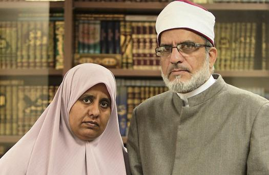 WORRIED: Sheikh Hussein Halawa and his daughter, Nosayba, in the Clonskeagh Mosque, Dublin. Photo: Gerry Mooney